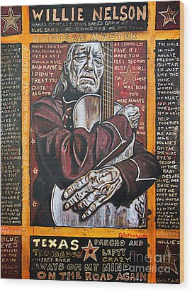 Willie Nelson Wood Print by Bob Hislop