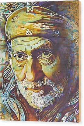 Willie Nelson-funny How Time Slips Away Wood Print by Joshua Morton