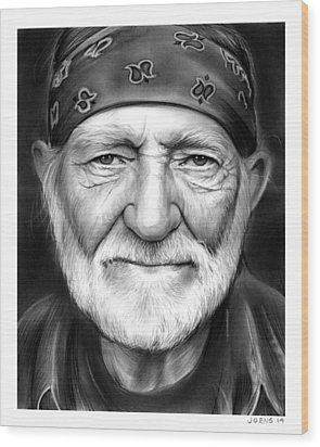 Willie Nelson Wood Print by Greg Joens
