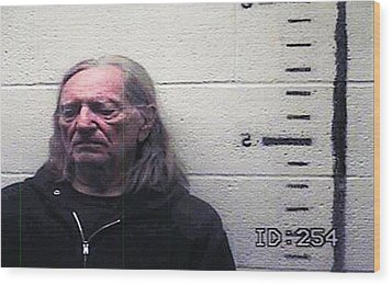 Willie Nelson Mugshot Wood Print by Bill Cannon