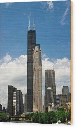 Willis Tower Aka Sears Tower Wood Print by Adam Romanowicz