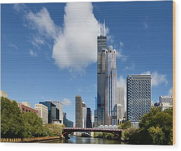 Willis Tower And 311 South Wacker Drive Chicago Wood Print by Christine Till