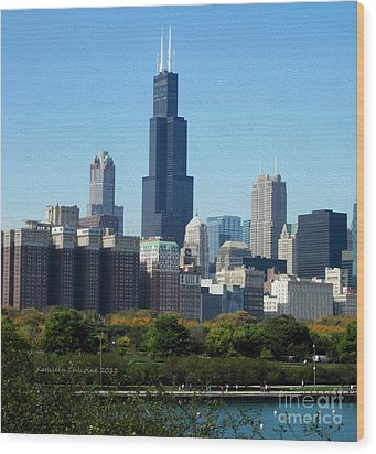 Willis Tower Wood Print by Kathie Chicoine