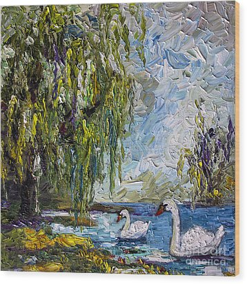 Willow Tree And Swan Lake Oil Painting Wood Print by Ginette Callaway