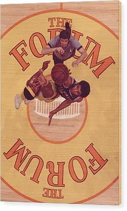 Wilt Chamberlain Vs. Kareem Abdul Jabbar Tip Off Wood Print by Retro Images Archive