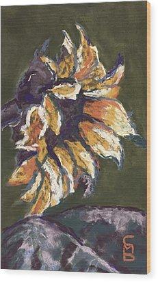 Wilting Sunflower Wood Print by Cristel Mol-Dellepoort