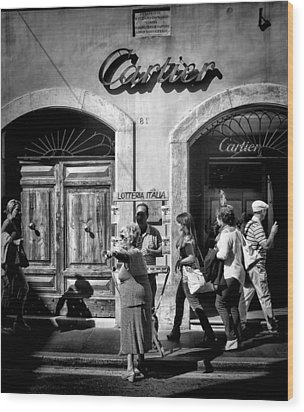 Win Lotto Buy Cartier Wood Print by Karen Lindale