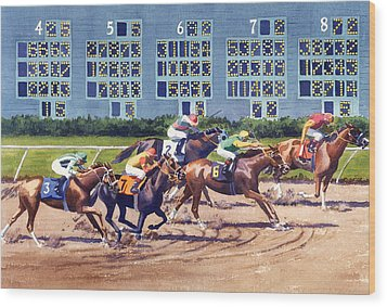Win Place Show At Del Mar Wood Print by Mary Helmreich