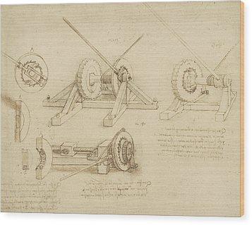 Winch Great Spring Catapult And Ladder From Atlantic Codex Wood Print by Leonardo Da Vinci