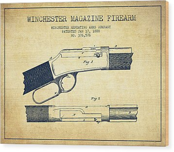 Winchester Firearm Patent Drawing From 1888- Vintage Wood Print by Aged Pixel
