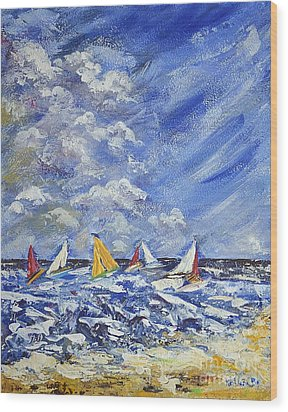 Wood Print featuring the painting Wind And Sails by Kathleen Pio