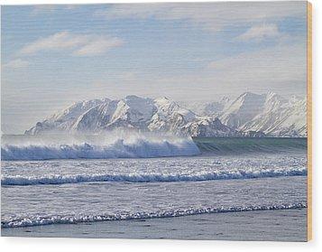 Wind And Waves On Kodiak Wood Print by Tim Grams