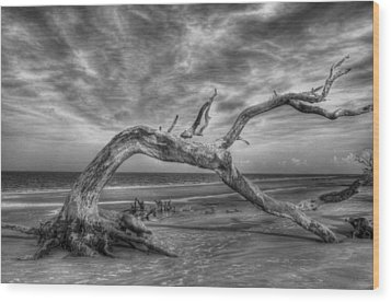 Wind Bent Driftwood Black And White Wood Print by Greg and Chrystal Mimbs