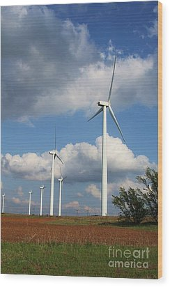 Wood Print featuring the photograph Wind Farm And Red Dirt by Jim McCain
