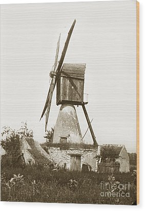Wood Print featuring the photograph Wind Mill In France 1900 Historical Photo by California Views Mr Pat Hathaway Archives