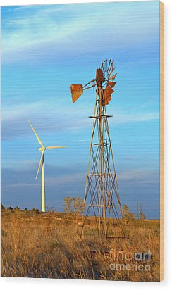 Wind Power  Then And Now Wood Print by Jim McCain