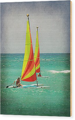 Wind Surfing Wood Print