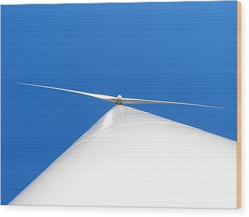 Wind Turbine Blue Sky Wood Print
