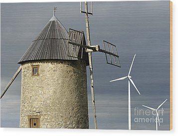 Wind Turbines And Windfarm Wood Print by Bernard Jaubert
