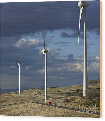 Wind Turbines. Region Auvergne. France Wood Print by Bernard Jaubert