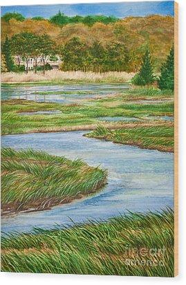 Winding Waters - Cape Salt Marsh Wood Print by Michelle Wiarda