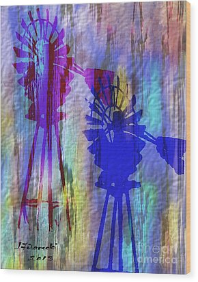 Windmill Abstract Painting Wood Print by Judy Filarecki
