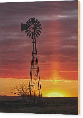 Wood Print featuring the photograph Windmill And Light Pillar by Rob Graham