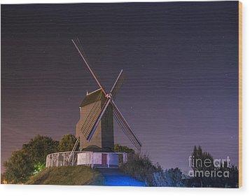 Windmill At Night Wood Print by Juli Scalzi