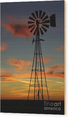 Wood Print featuring the photograph Windmill At Sunset 1 by Jim McCain