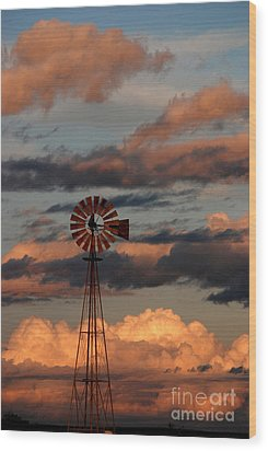 Windmill At Sunset V Wood Print by Cindy McIntyre