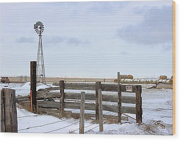 Windmill At The Corral Wood Print