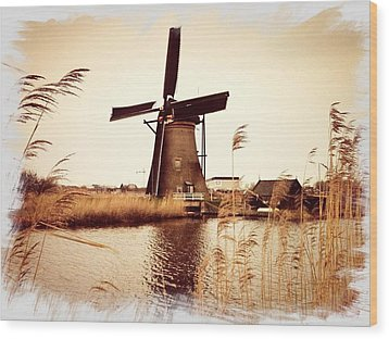 Windmill Wood Print by Beril Sirmacek