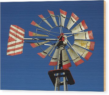 Windmill Close Up Wood Print by Kay Sparks