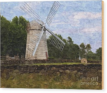 Windmill Wood Print by Diane Goulart