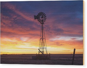 Windmill Dressed Up Wood Print by Shirley Heier