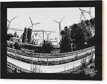 Windmill Farm Wood Print by Gerry Robins