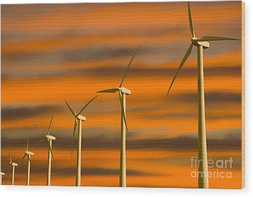 Windmill Farm Wood Print