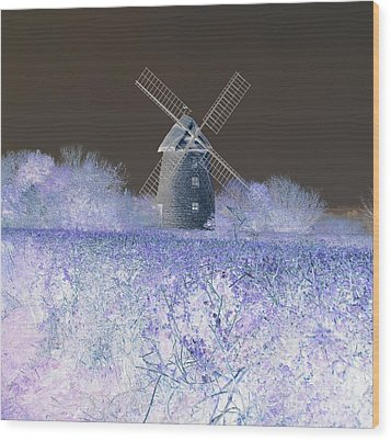 Wood Print featuring the photograph Windmill In A Purple Haze by Linda Prewer