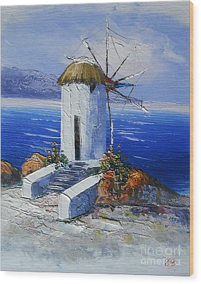 Windmill In Greece Wood Print by Elena  Constantinescu
