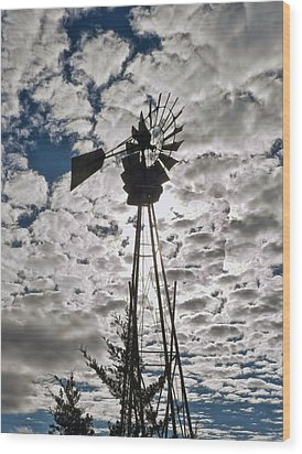 Wood Print featuring the digital art Windmill In The Clouds by Cathy Anderson