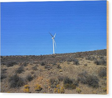 Windmill In The Desert Wood Print by Kay Gilley