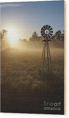 Windmill In The Fog Wood Print
