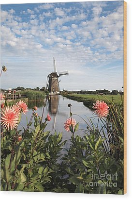Windmill Landscape In Holland Wood Print