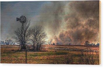 Windmill On A Burning Field Wood Print