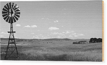 Windmill On The Plains - Black And White Wood Print by Kaleidoscopik Photography