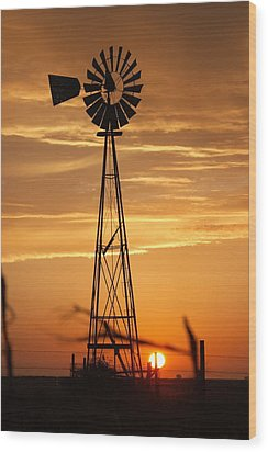 Windmill On The Prairie Wood Print by Shirley Heier