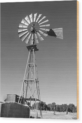 Windmill On The Range Wood Print