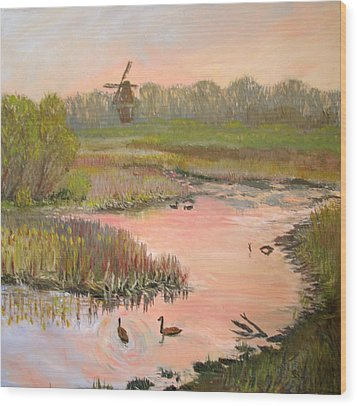 Windmill On The Waterfront Wood Print by Art Nomad Sandra  Hansen