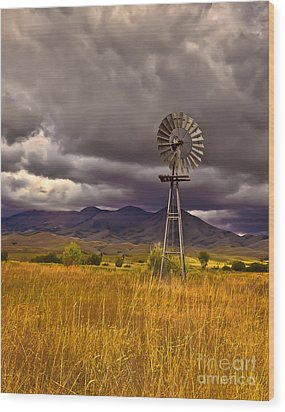 Windmill Wood Print by Robert Bales