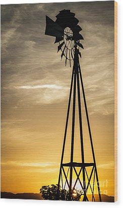 Windmill Sunset Wood Print by Mitch Shindelbower